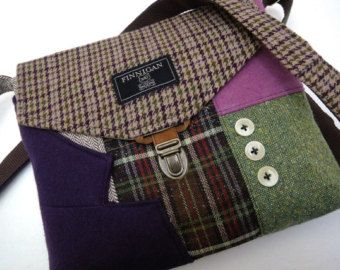 Items similar to Recycled purse,  brown tweed wool,  upcycled mens suit coat, womens on Etsy