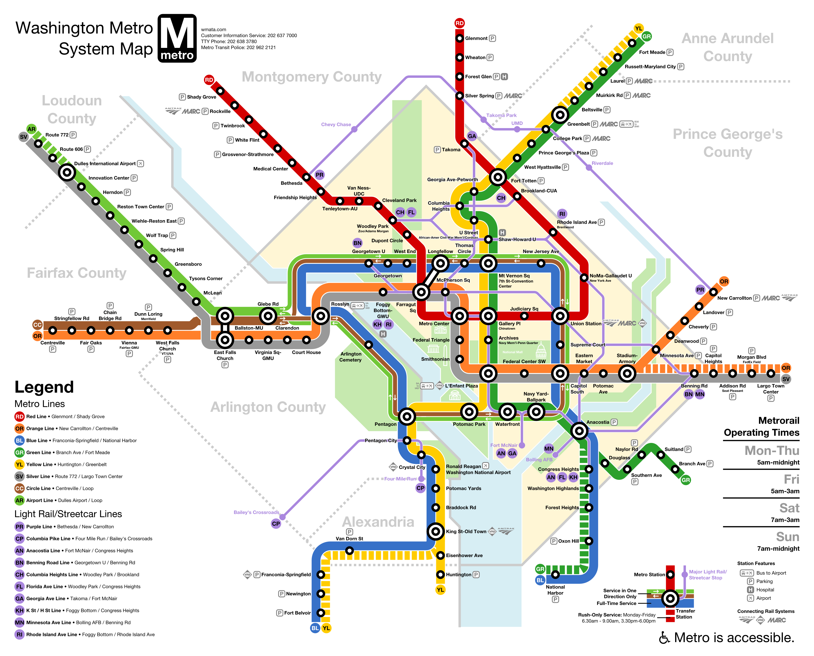 wmata washington dc metro downtown loop line subway expansion map not official with airport line and circle line expanded green orange yellow  [ 3400 x 2740 Pixel ]