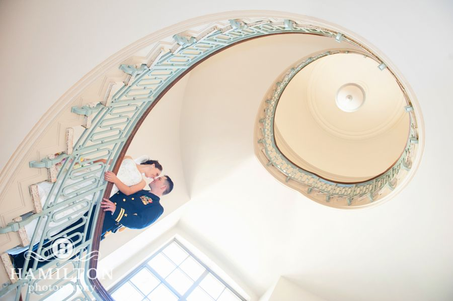 We LOVE the sweeping staircase at the Naval Academy - so great for romantic formals!  #hamiltonphoto #hamiltonphotography #annapolis #annapolisweddings #USNA #navalacademywedding #marylandphotographers #weddingphotos #romantic #dramatic #formals