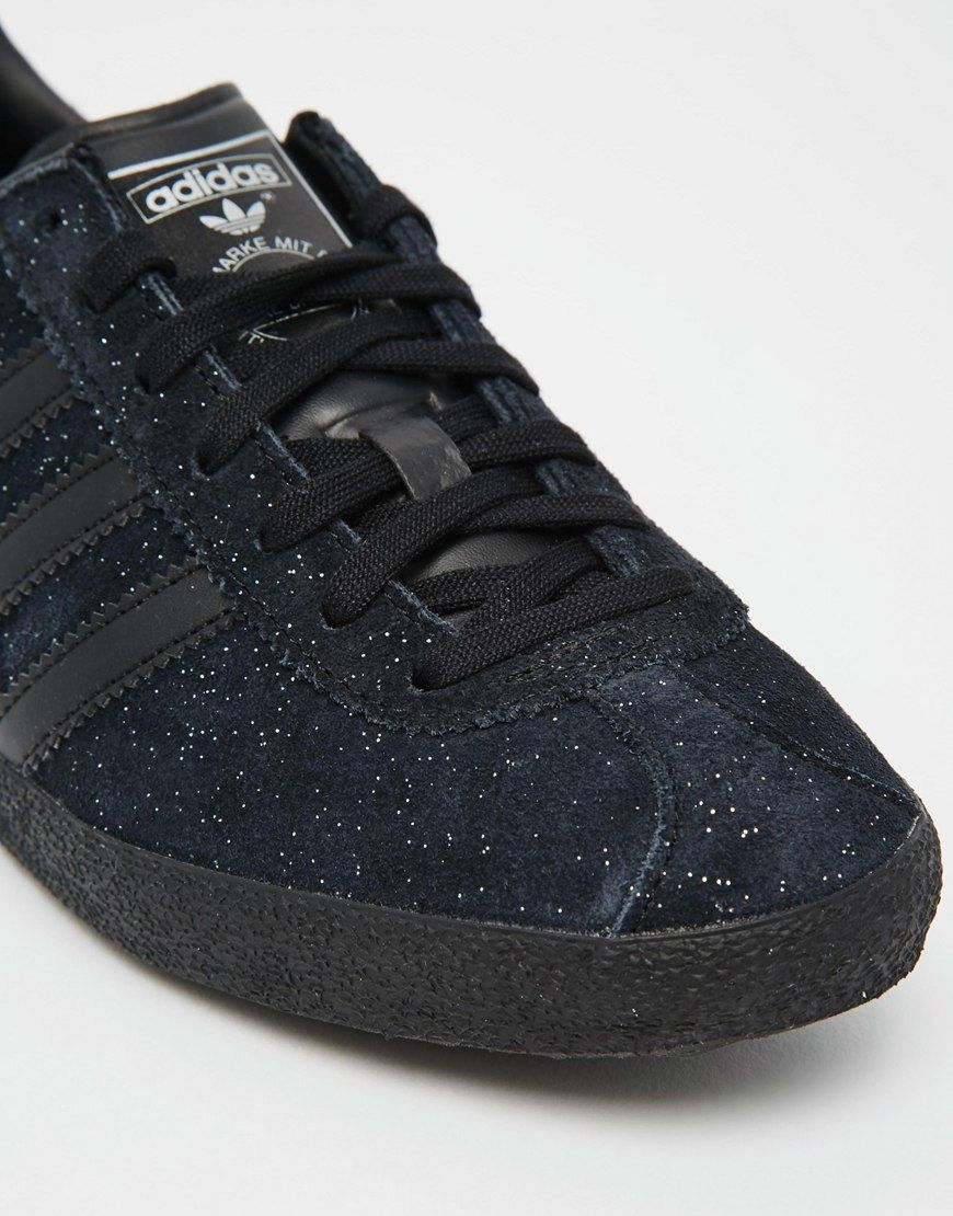 brand new 53ced 6b2b2 adidas Originals Glitter Suede Black Gazelle OG Trainers