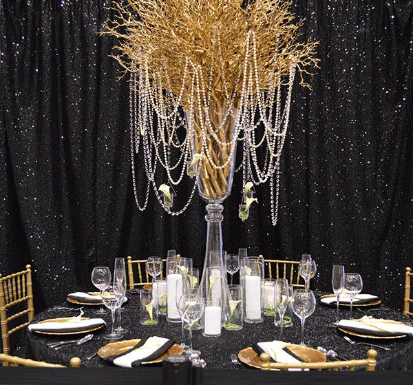 Gold Wedding Centerpiece Decorations: Farah & Nour Black And Gold Wedding Ideas, Black And Gold