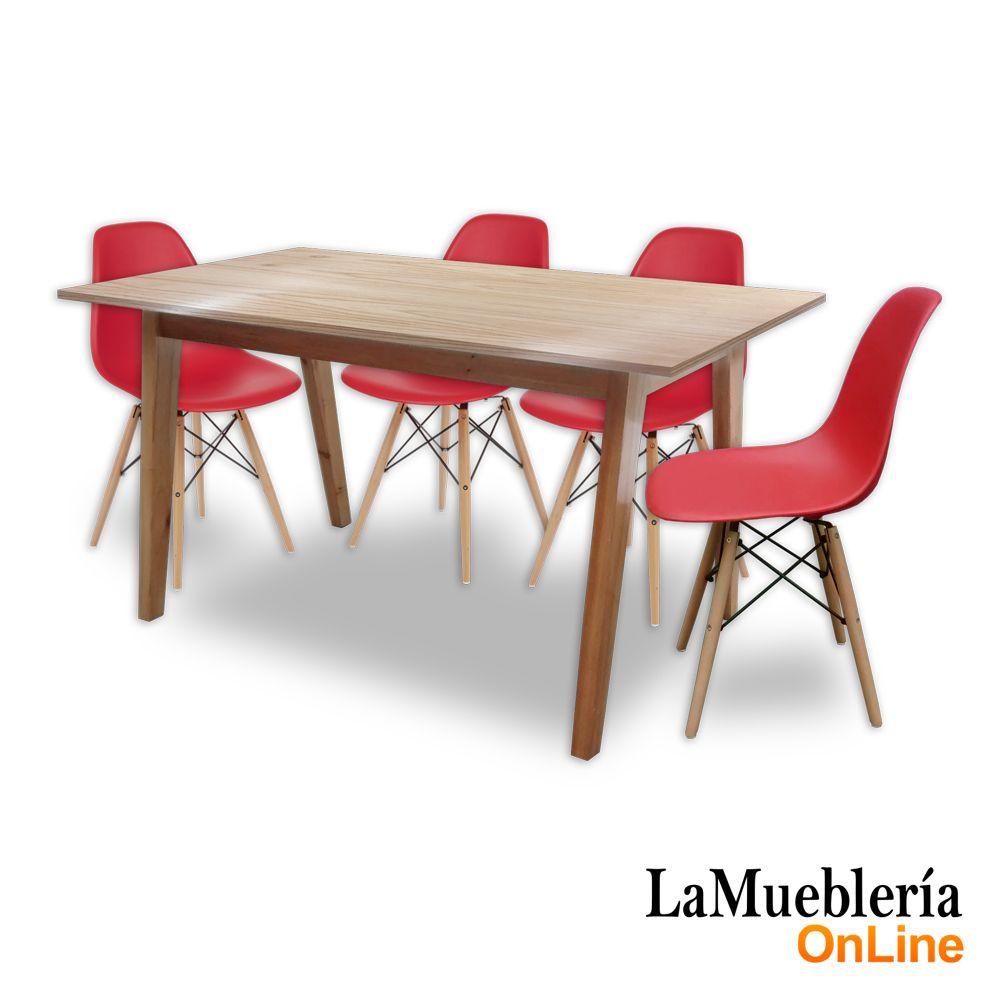 Juego de comedor mesa Artus 140 con 4 sillas Eames rojas en La ...