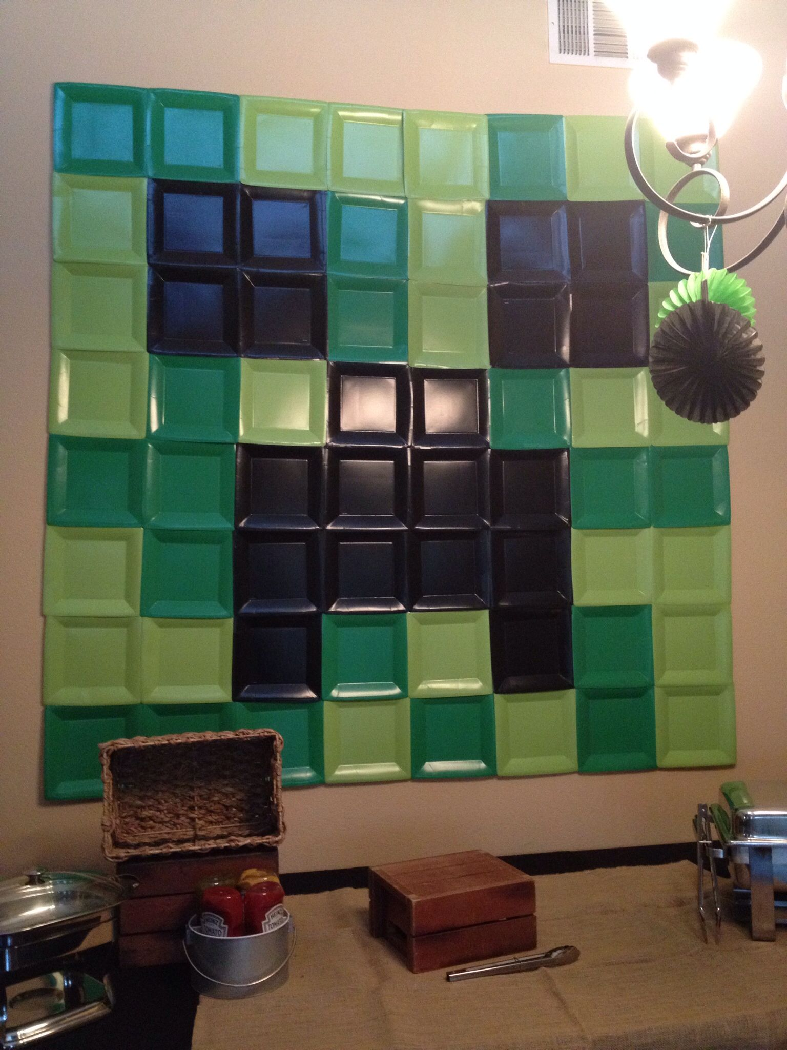 Minecraft backdrop. I used 10 1/2 inch square plates from ...Steve Minecraft Costume Party City