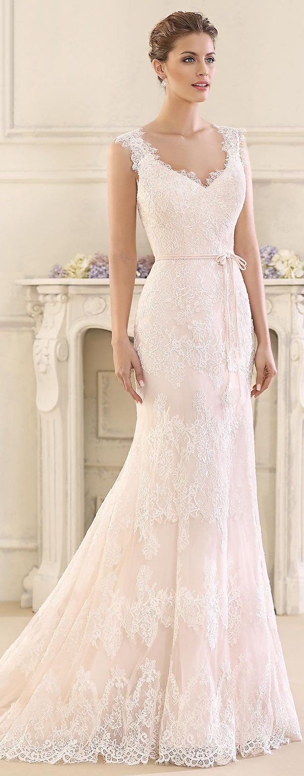 Blush Lace fitted Wedding Dress by Fara Sposa 2017 Bridal Collection