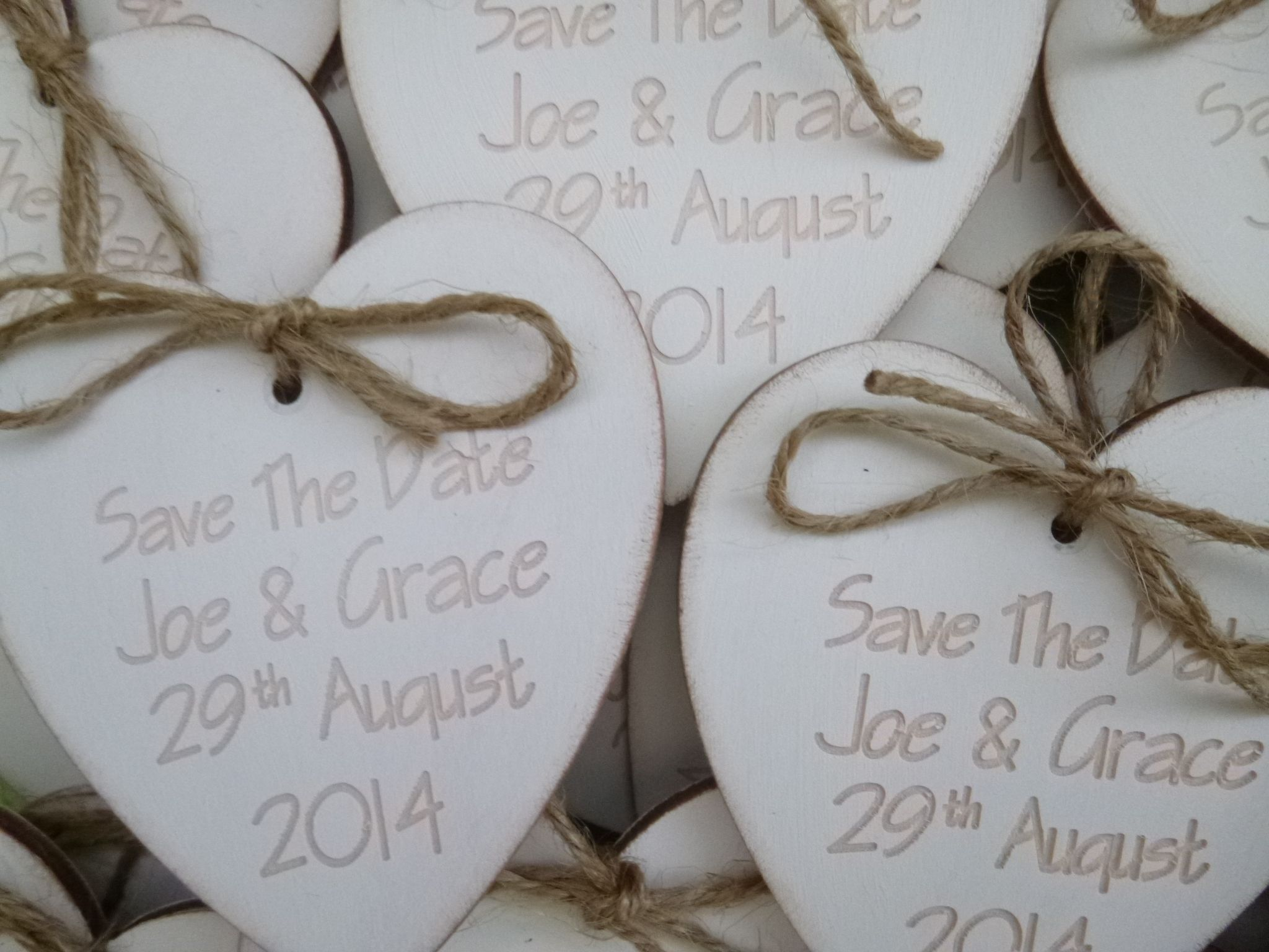Wedding Save the date wooden fridge magnets Wooden hearts painted in ...