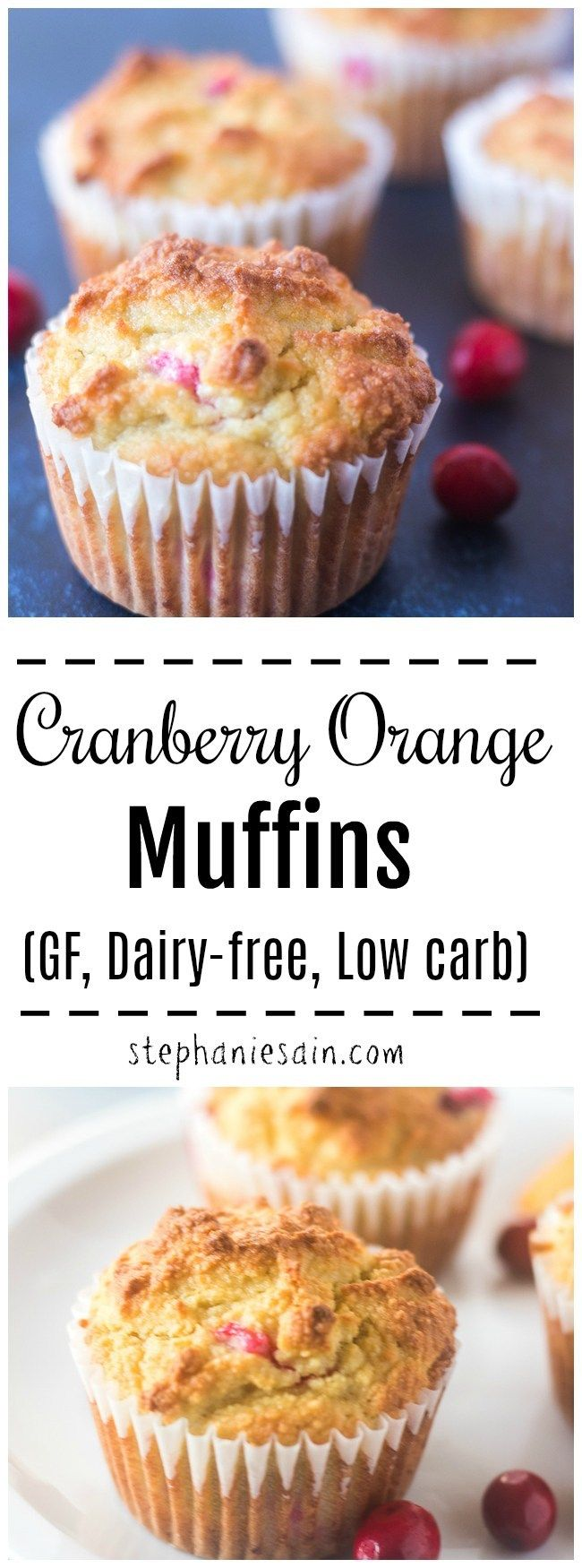 These Cranberry Orange Muffins are moist, tender and bursting with fresh tart cranberries. Lightly sweetened with maple syrup and orange juice. Perfect for quick healthy breakfast or snacks. Gluten Free, Dairy free, No added refined sugars and low carb. #dairyfreesmoothie