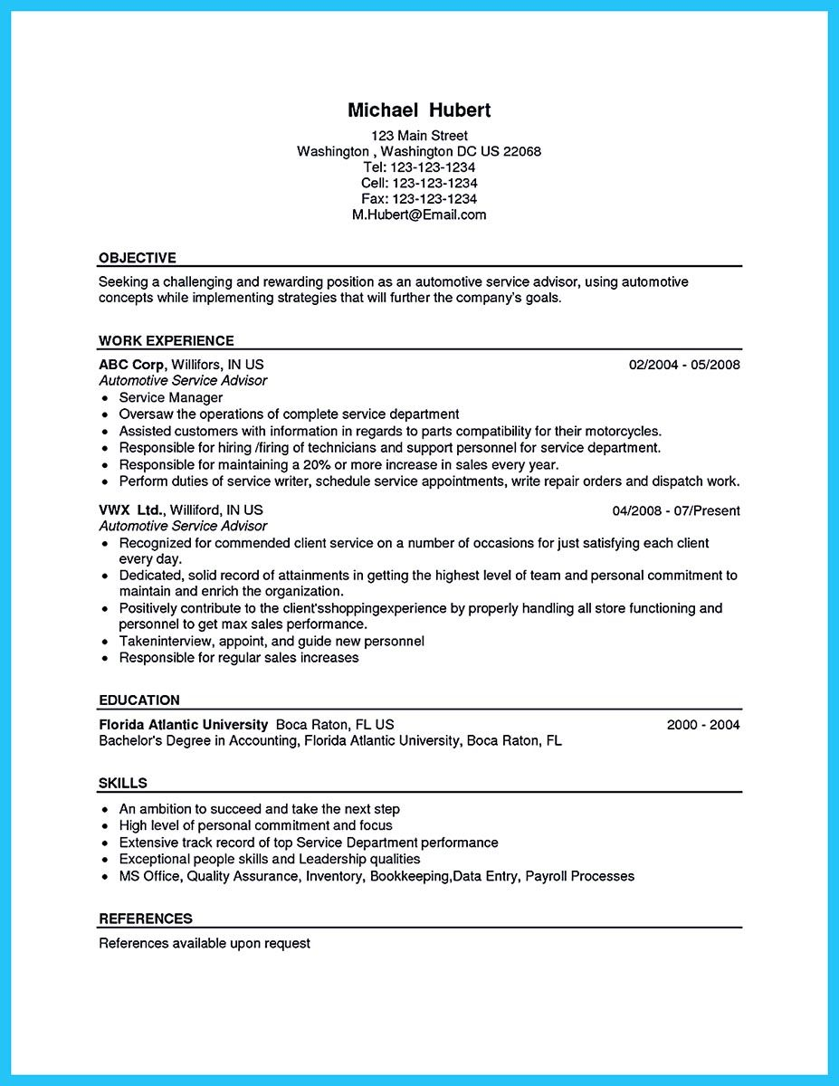 To Write An Automotive Technician Resume Is Similar With Other Resumes The Parts Of The Body Are M Resume Writing Services Job Resume Examples Service Advisor