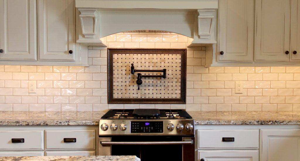 White Subway Tile Kitchen Backsplash With Accent Basket Weave Tile Subway Tile Backsplash Kitchen White Subway Tiles Kitchen Backsplash Kitchen Backsplash