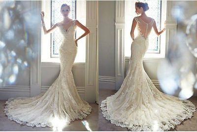 Sexy V-neck Sheer Back Wedding Dress Mermaid Lace Appliques Bridal Gown Custom