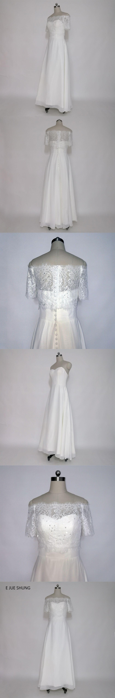 Off the shoulder tea length wedding dress  E JUE SHUNG White Lace Tea Length Beach Wedding Dresses Off the