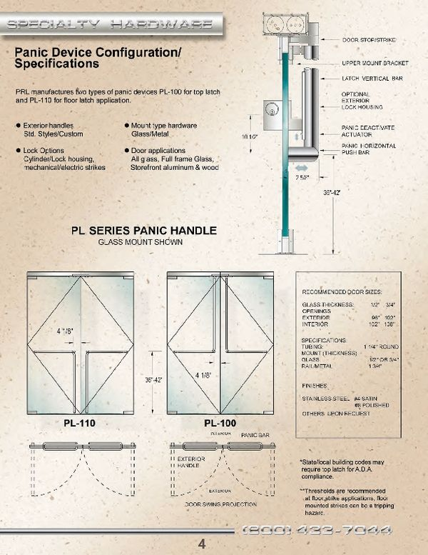 All Glass Door Panic Device Specifications