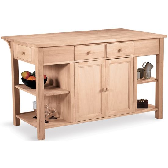 Kitchen Island Unfinished | Unfinished Kitchen Island W Counter Shelves By International
