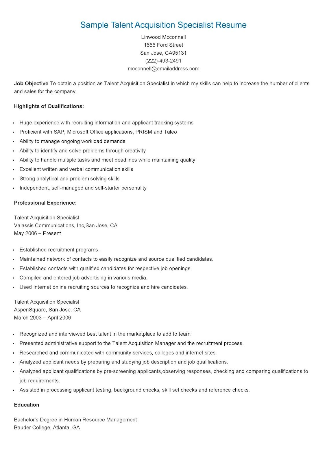sample talent acquisition specialist resume
