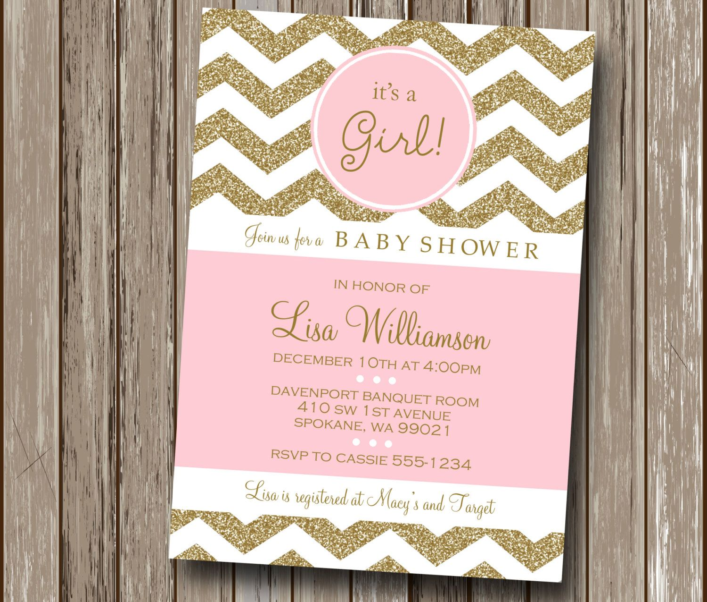 Chevron Blush Pink and Gold Champagne Baby Shower Invitation ...