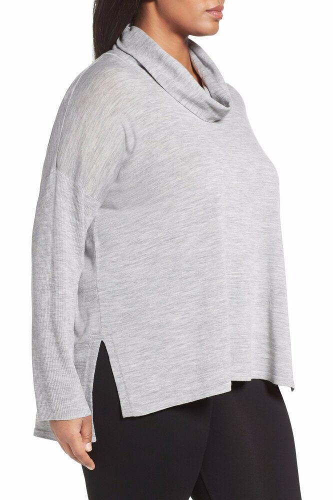 1502404f90352 Eileen Fisher Ultra-Fine Merino Cowl Neck LS Hi-Lo Hem Gray Sweater Tunic  1X  fashion  clothing  shoes  accessories  womensclothing  sweaters (ebay  link)