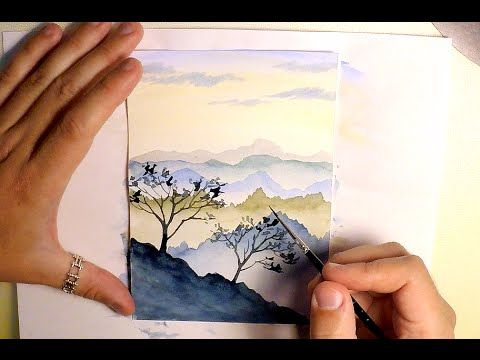How to paint mountains landscape watercolor painting for Easy watercolor tutorial