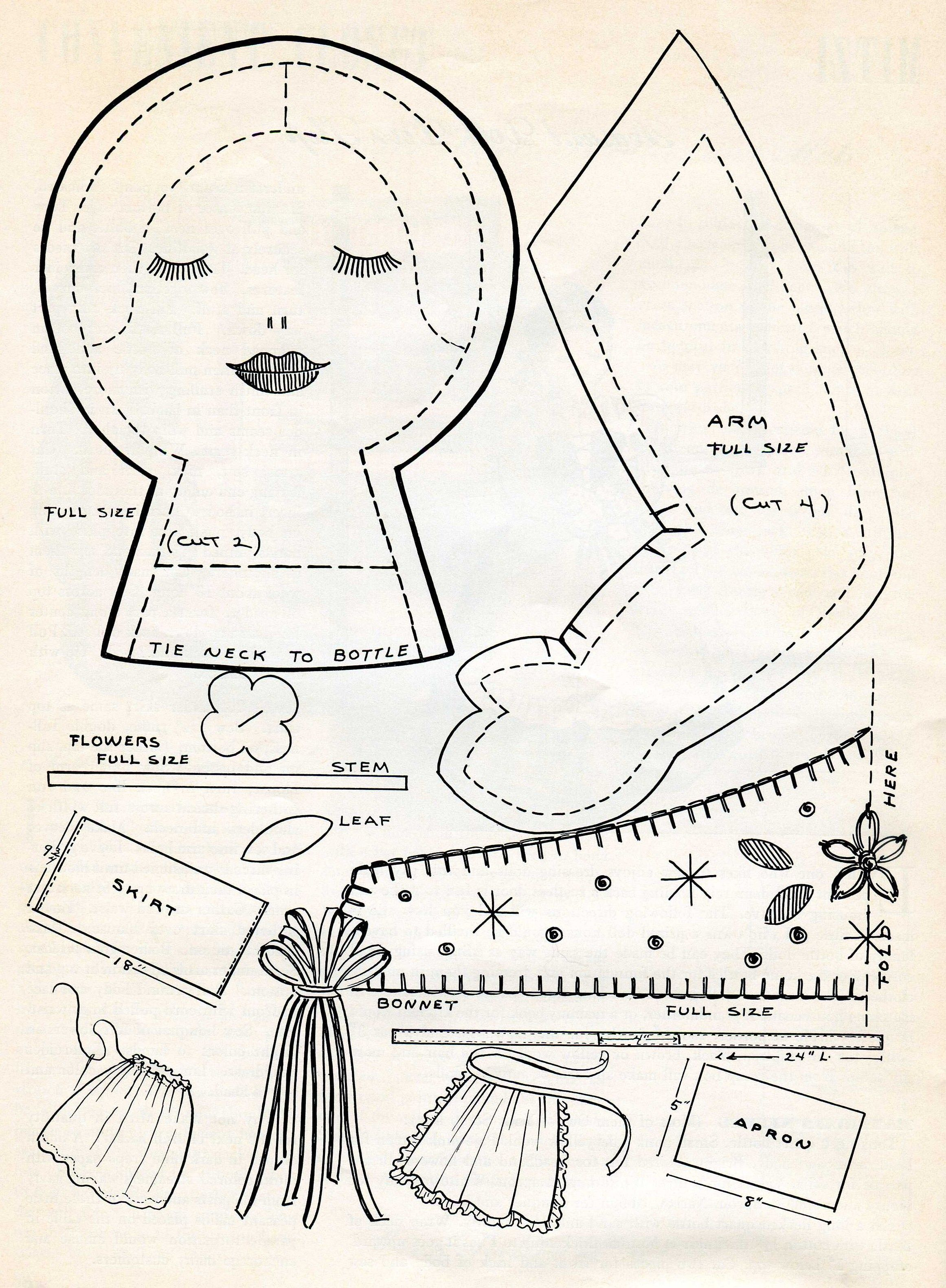 LITTLE RED RIDING HOOD DOLL Vintage 1951 Crochet Pattern by The ...