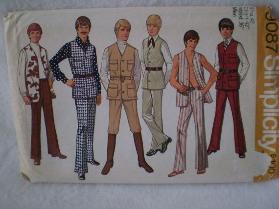 Simplicity 9087 1970s Safari Leisure Suit Pattern Mens by Bizzard, $6.50