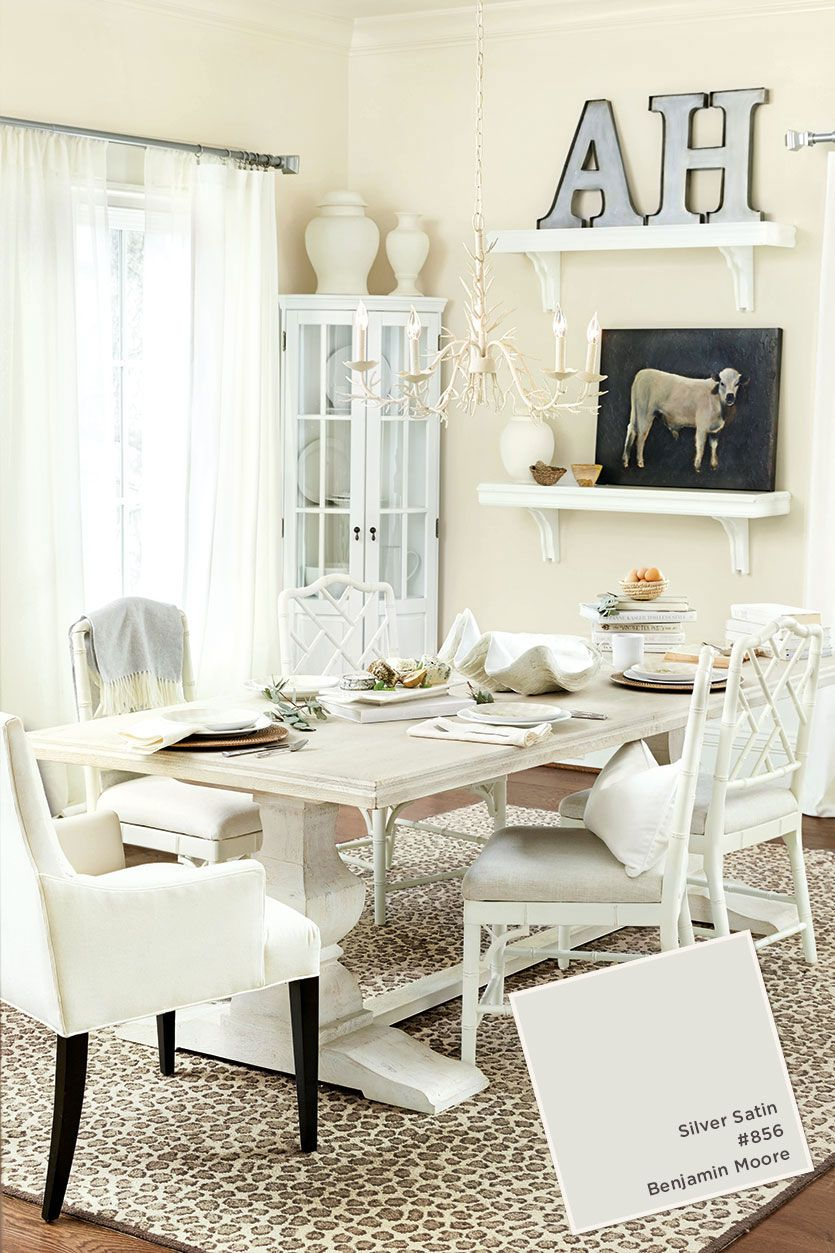 Isnt This All White Dining Room Gorgeous We Used Easycare Fabrics Off Walls In Benjamin Moores Silver Satin And Sheer Drapery To Create A