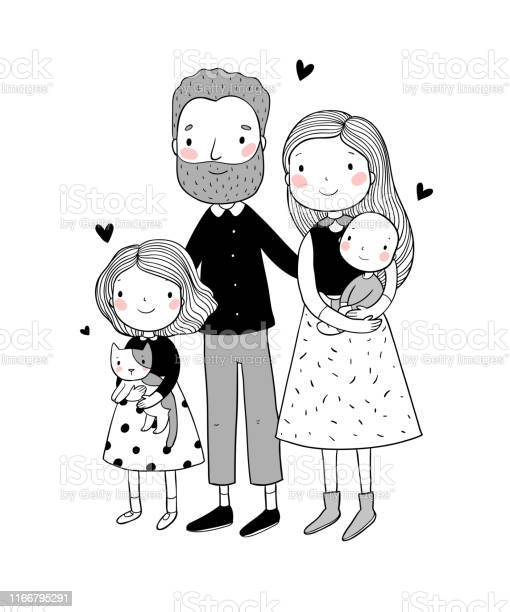 Vector Illustration In 2021 Family Drawing Illustration Family Cartoon Family Drawing