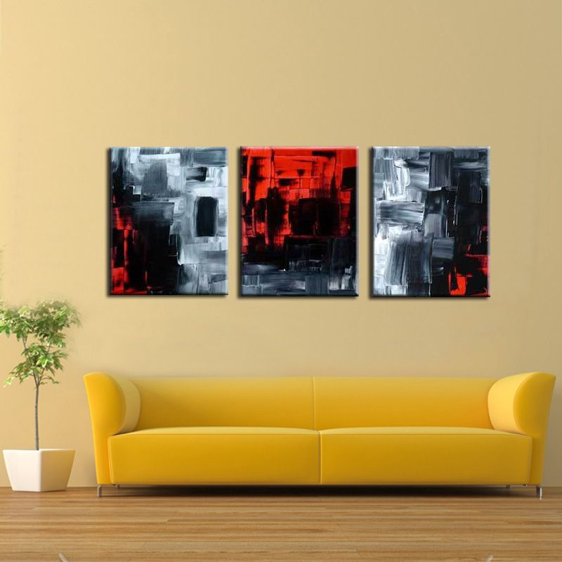 Wall art 3 Pieces combined painting Hand abstract pure handmade ...