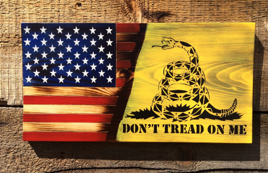 Dont Tread On Me Gadsden Flag American Revolutionamerican Etsy American Flag Wall Art Wooden American Flag American Flag