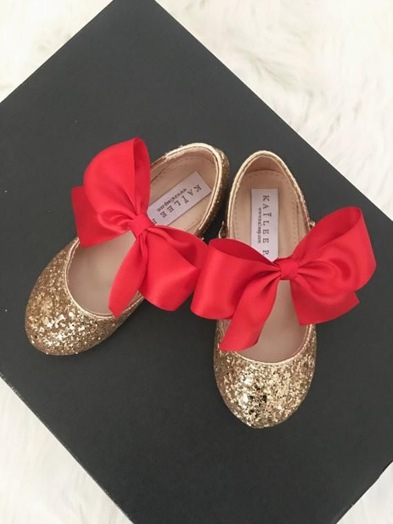 0f500407c61 GOLD ROCK Glitter Maryjane Flats With BRICK RED Satin Bow | Flower ...