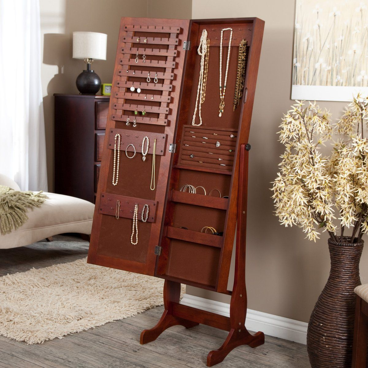 I want this Heritage Cherry Jewelry Armoire Cheval Mirror