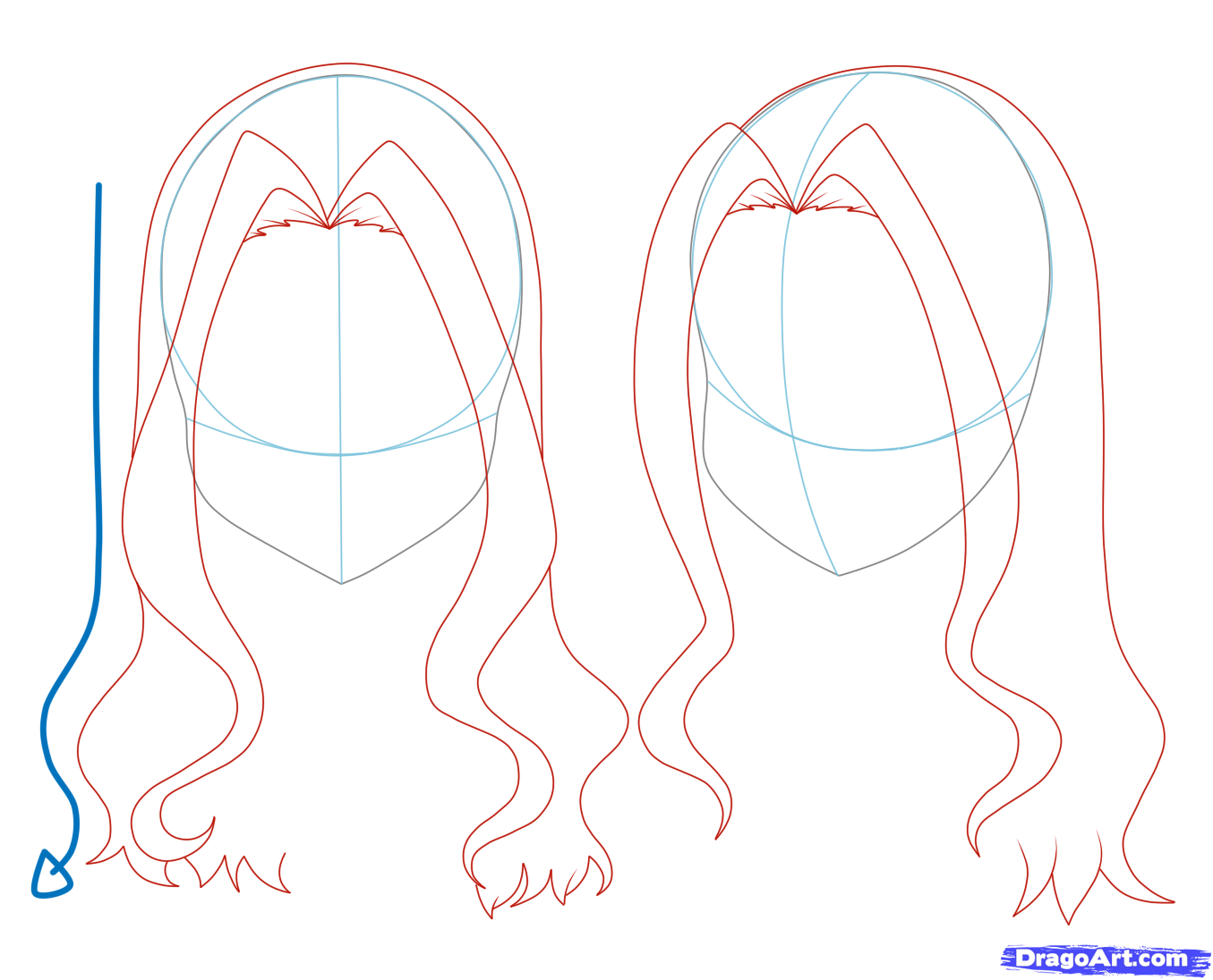 How to draw girl hair step 10