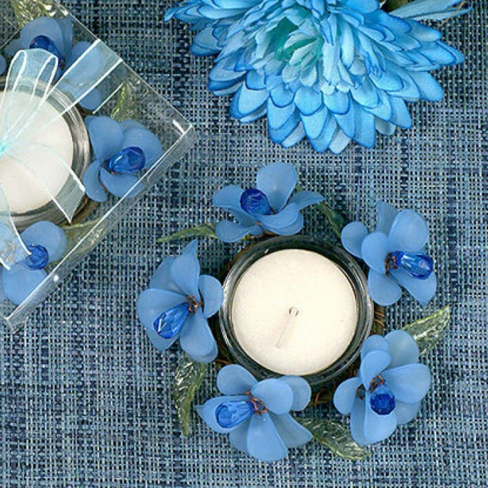 Elegant Frosted Blue Glass Flower Candle Holder 227 1202 Glass