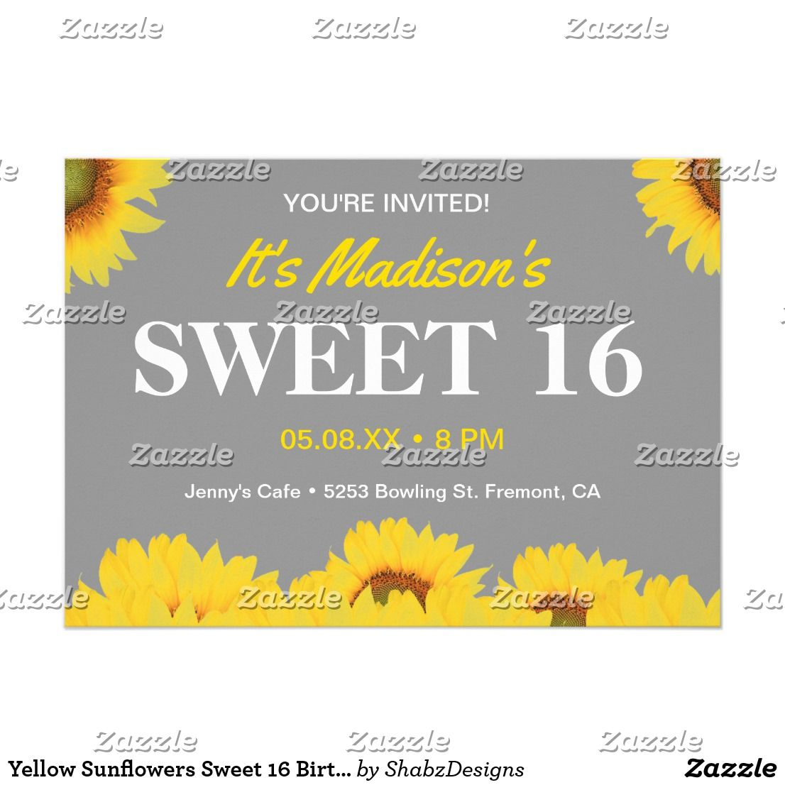 Yellow Sunflowers Sweet 16 Birthday Party Invite Invite your guests ...