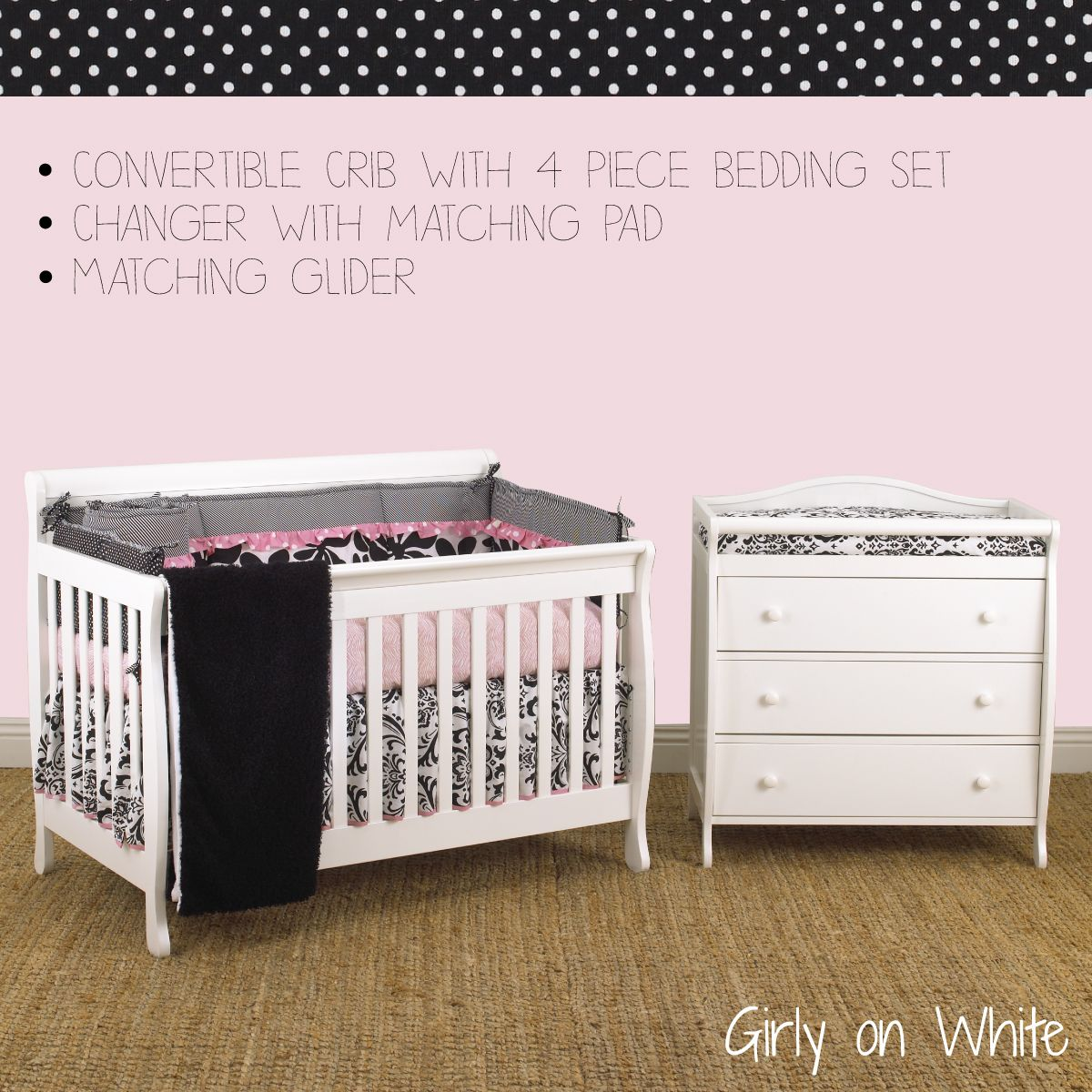Nursery Furniture Packages http://www.cottontaledesigns.com/collections/furniture-package-w-glider-4pc-bedding-set