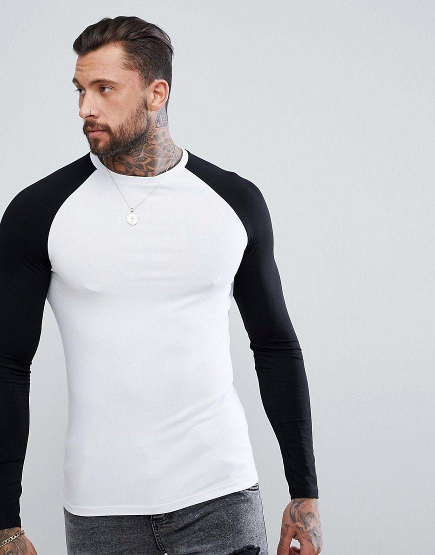 7d050cf6b0fe DESIGN muscle fit long sleeve contrast raglan t-shirt   long sleeve ...