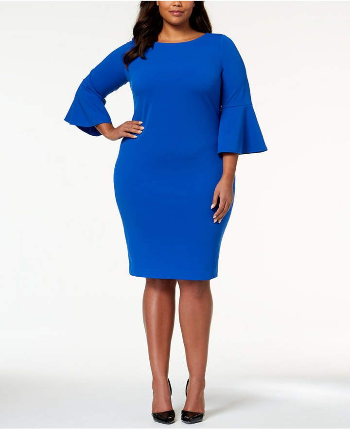 7fa7d80dab81 Calvin Klein Plus Size Bell-Sleeve Sheath Dress