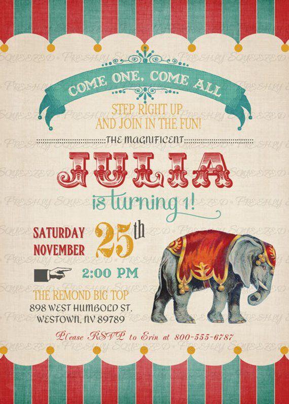 Vintage Circus Birthday Invitation Party Digital Printable File