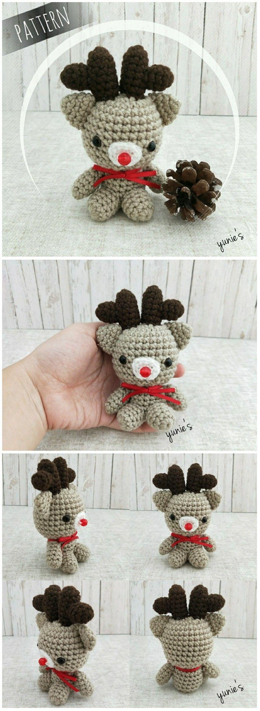 Crochet reindeer amigurumi Crochet Rudolph amigurumi Crochet pattern ...