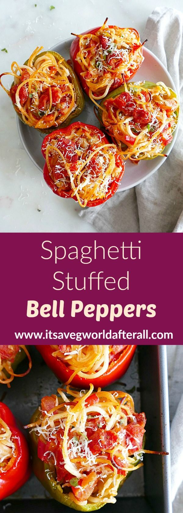 Spaghetti Stuffed Bell Peppers #stuffedbellpeppers