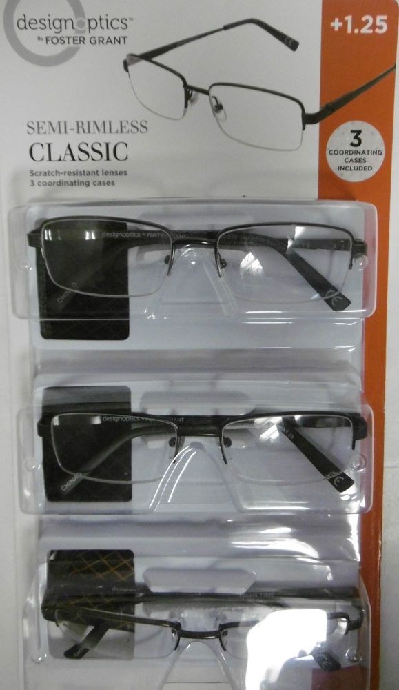 f4b04fc3c9d3 DESIGN OPTICS +1.25 SEMI-RIMLESS CLASSIC READING GLASSES 3-PACK with CASES  B52-1  DesignOpticsbyFOSTERGRANT