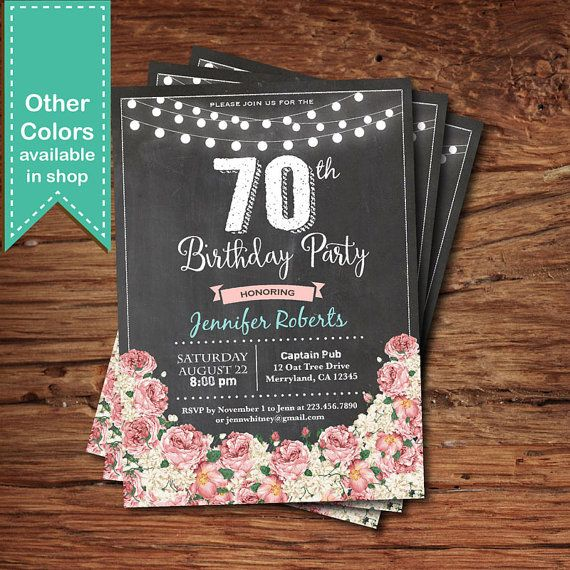 Glam 70th Birthday Invitation Woman Floral 30th By CrazyLime