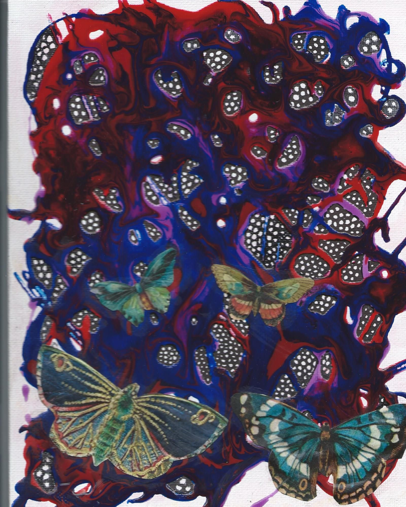 my newest canvas using acrylic pouring medium, markers and decoupage elements. love the butterflies