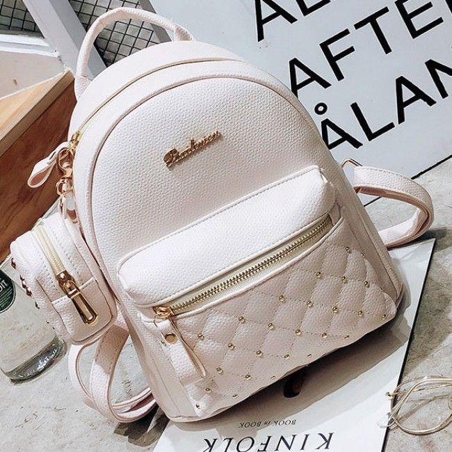 44860028a1a How nice Mini Black White Lady Bag Snap Rivets Mesh Lingge PU Backpack ! I  like it ! I want to get it ASAP!