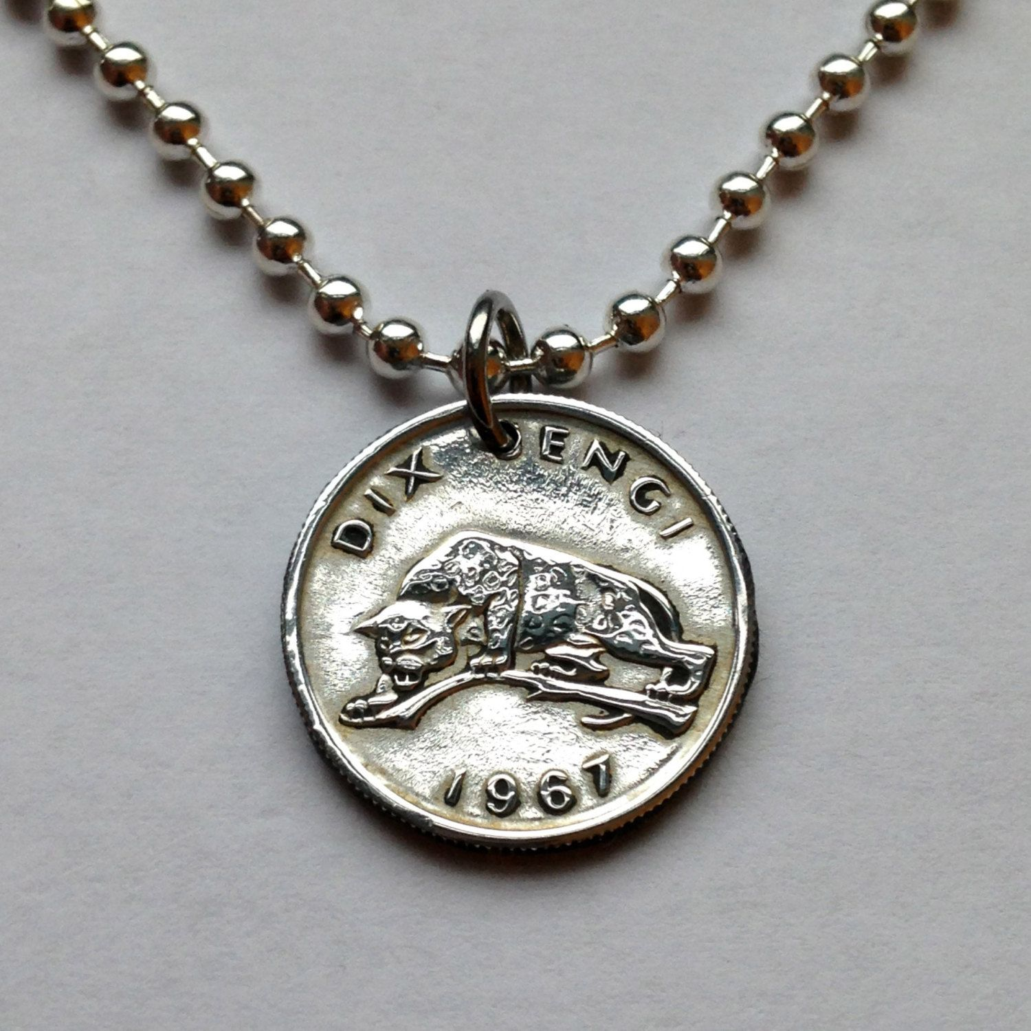 1967 Congo 10 Sengi Coin Pendant Charm Necklace Jewelry African Africa Leopard Tiger Feline Jungle Congolese No 001244 Coin Pendant Pendant Jewelry Necklaces