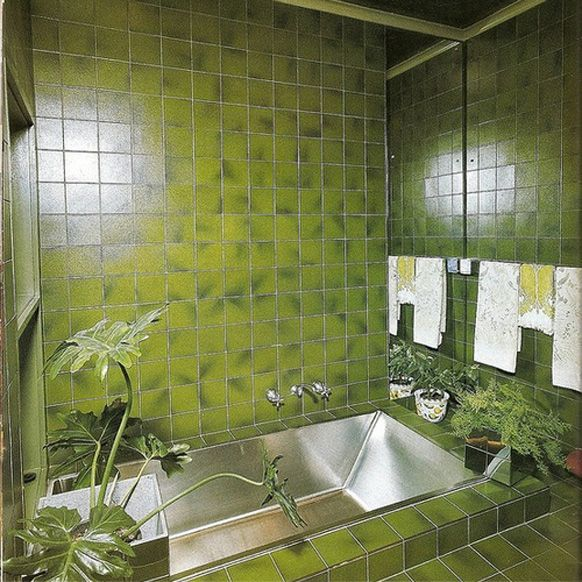 Green bathroom hey jealousy pinterest interiors mid for Avocado green bathroom ideas