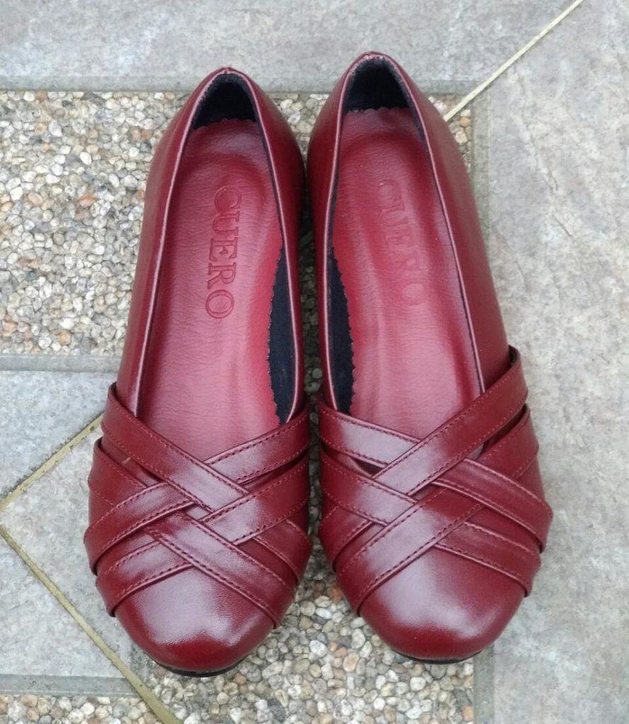 Sepatu Flat Kulit Wanita Merah Marun Nirina Sepatu Sepatu