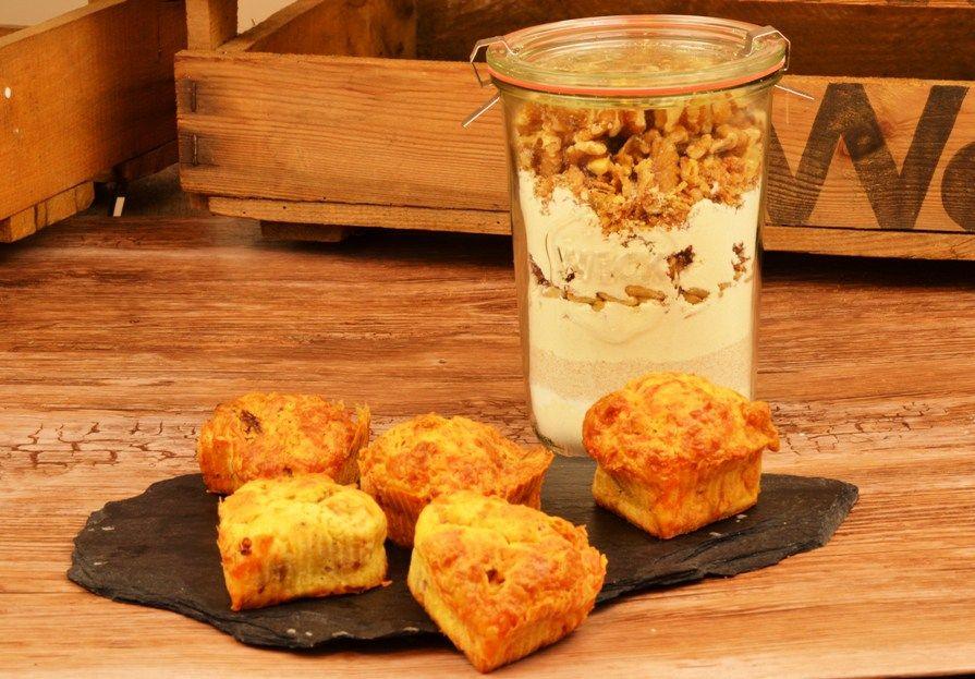 Herzhafte Walnuss Kase Zwiebel Muffins Als Backmischung Im Glas