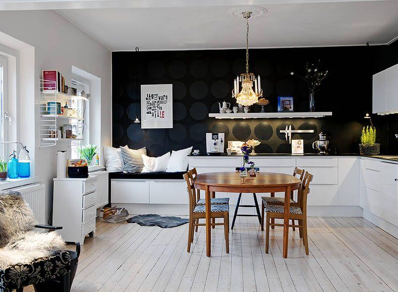 Biala Kuchnia Z Czarna Sciana Kuchnia Styl Nowoczesny Aranzacja I Wystroj Wnetrz Apartment Interior Home Home Decor
