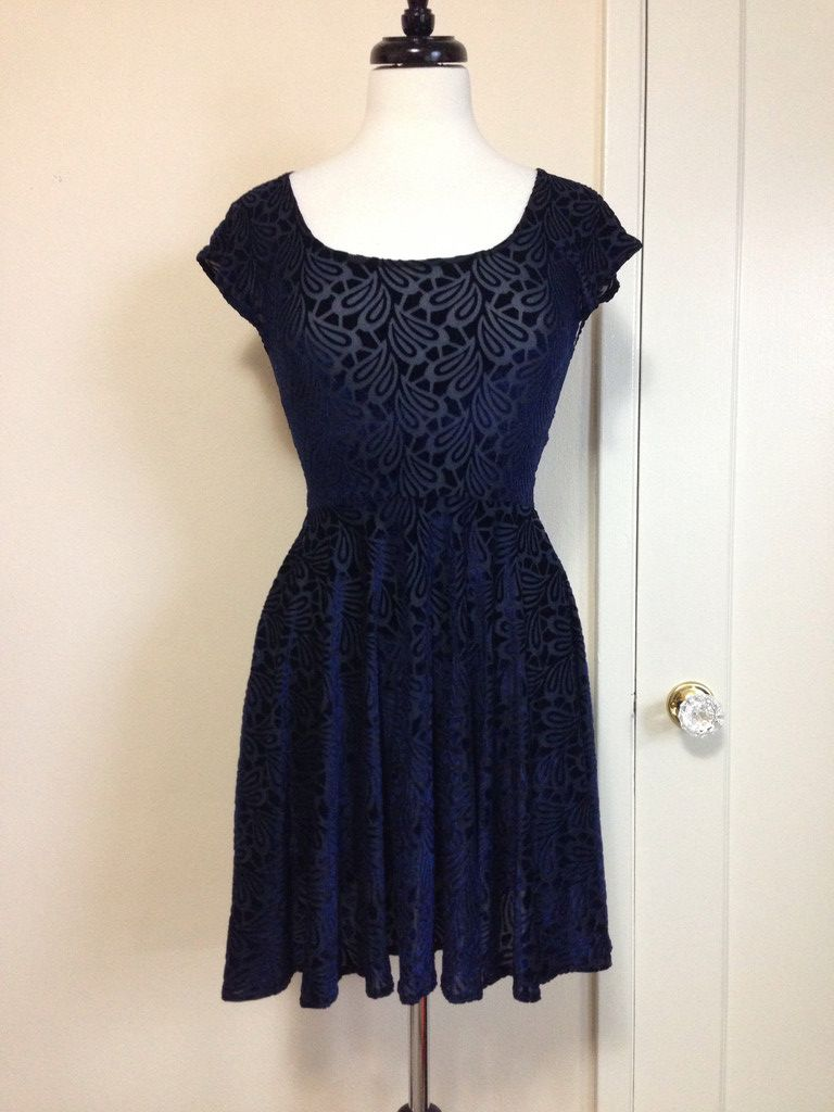 Navy Teardrop Burnt Velvet Skater Dress Gold Stitches