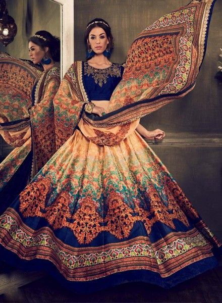 6f8749ff8c Beige & Blue designer wear Jaipuri printed silk ghagra choli J16024