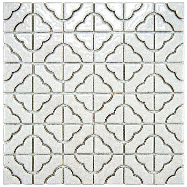 The Quatrefoil Design Of This Porcelain Mosaic Tile Gives It A Graphic Touch Dihworkshop Porcelain Mosaic Tile Porcelain Mosaic White Mosaic Tiles