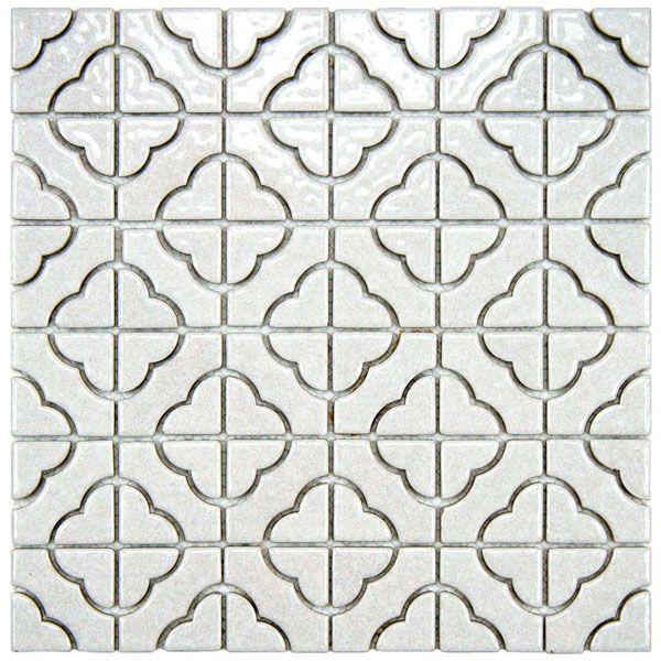 The Quatrefoil Design Of This Porcelain Mosaic Tile Gives It A Graphic Touch Dihworkshop Porcelain Mosaic Tile Porcelain Mosaic White Mosaic Tiles